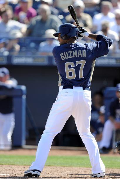 El venezolano José Guzmán de los Padres de San Diego promedió .333 (6 en...