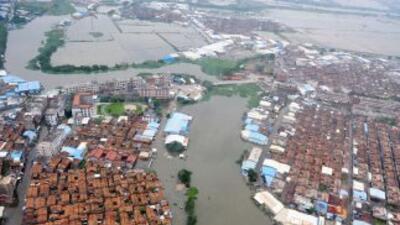 Vista de las inundaciones en China.
