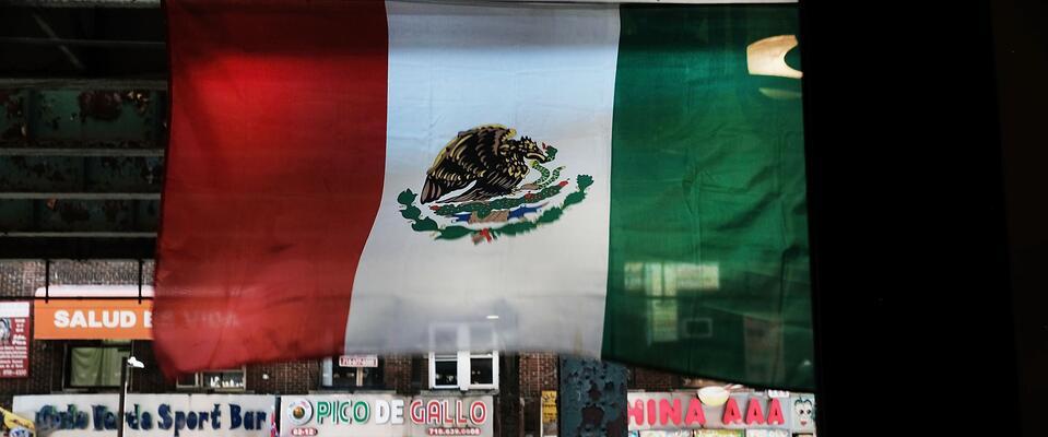 Una bandera mexicana en Nueva York.