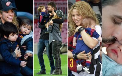 Shakira y Piqué con sus hijos Milan y Sasha