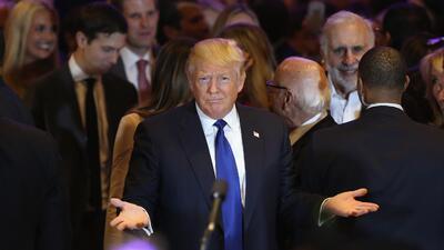Donald Trump después de ganar la primaria en Nueva York, abril 19, 2016.