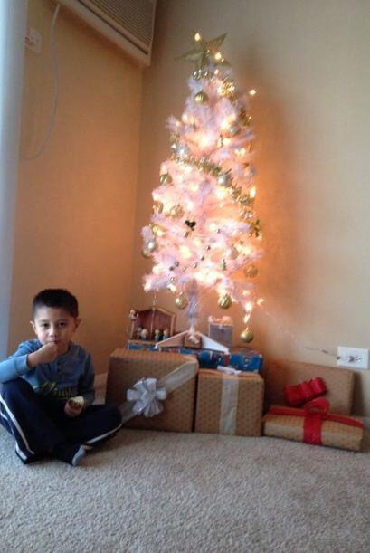 Carol Bravo nos envió  esta foto de su hijo junto con su decoraci...