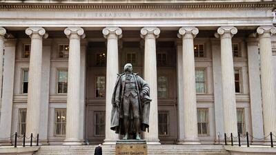 Edificio del departamento del Tesoro en Washington DC.