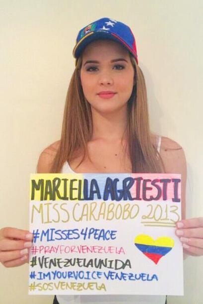 Mariella Agriesti, Miss Carabobo 2013, pide la paz para su país....