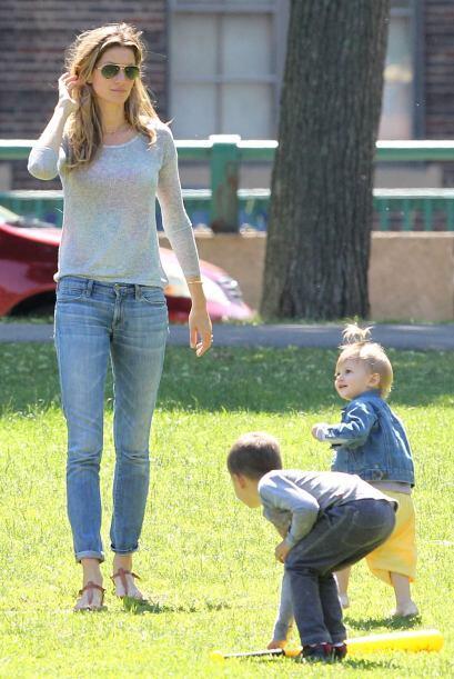 La modelo disfrutó tanto como Brady este día.