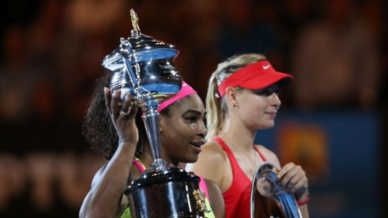 Serena Williams superó a MAria Sharapova en la final de Australia pra co...