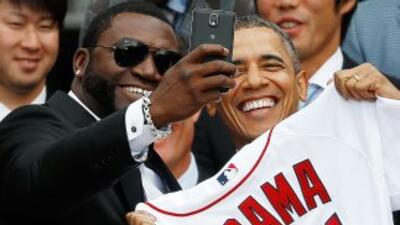 La selfie tomada por David Ortiz Big Papi, de los Red Sox de Boston junt...