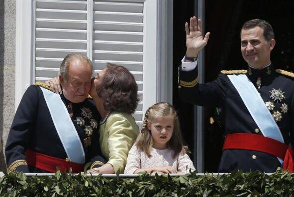 Doña Sofía también se mostró cariñosa con Juan Carlos.