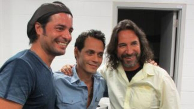 Chayanne,Marc Anthony y Marco Antonio Solís, durante los ensayos deGIG...