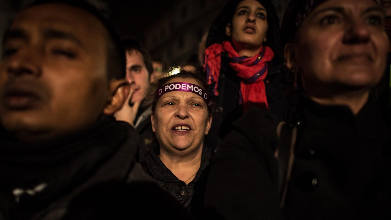 Ciudadanos celebran los resultados de Podemos.