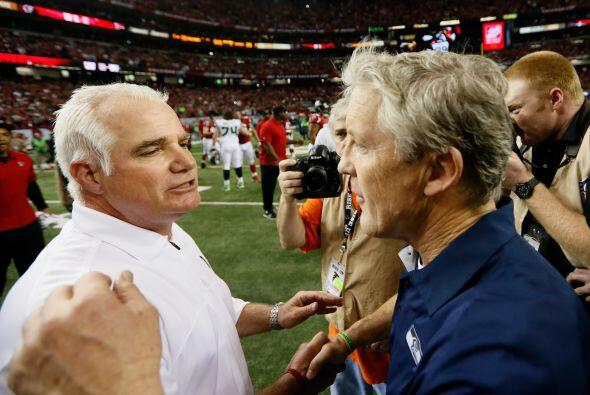Mike Smith y Pete Carroll, las cabezas de Atlanta y Seattle respectivame...