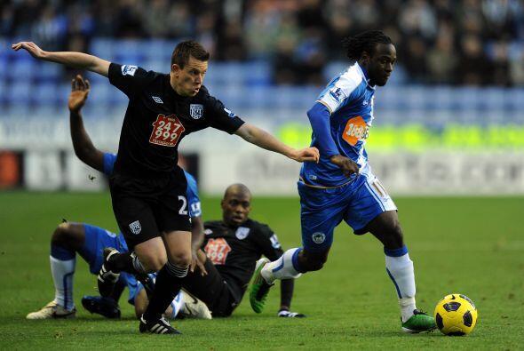 Wigan Athletic le ganó al West Bromwich por 1 a 0 con gol de Victor Moises.