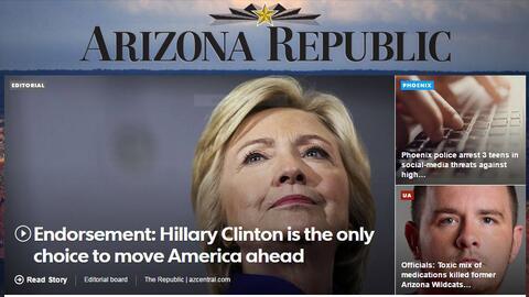 El periódico The Arizona Republic anunció en su editorial su apoyo a la...