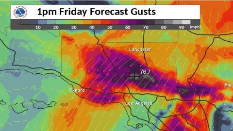 Previsión de fuertes viento spar Los Ángeles el viernes 2...