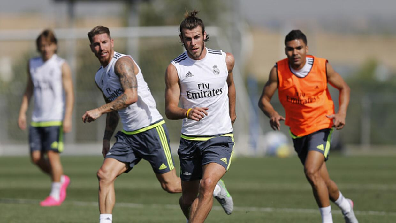 Gareth Bale en el entrenamiento del Real Madrid.