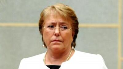 La presidenta de Chile, Michelle Bachelet, durante ceremonia oficial en...