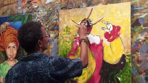 Colores y palmares rodean el talle del artista plástico loiceño Samuel Lind