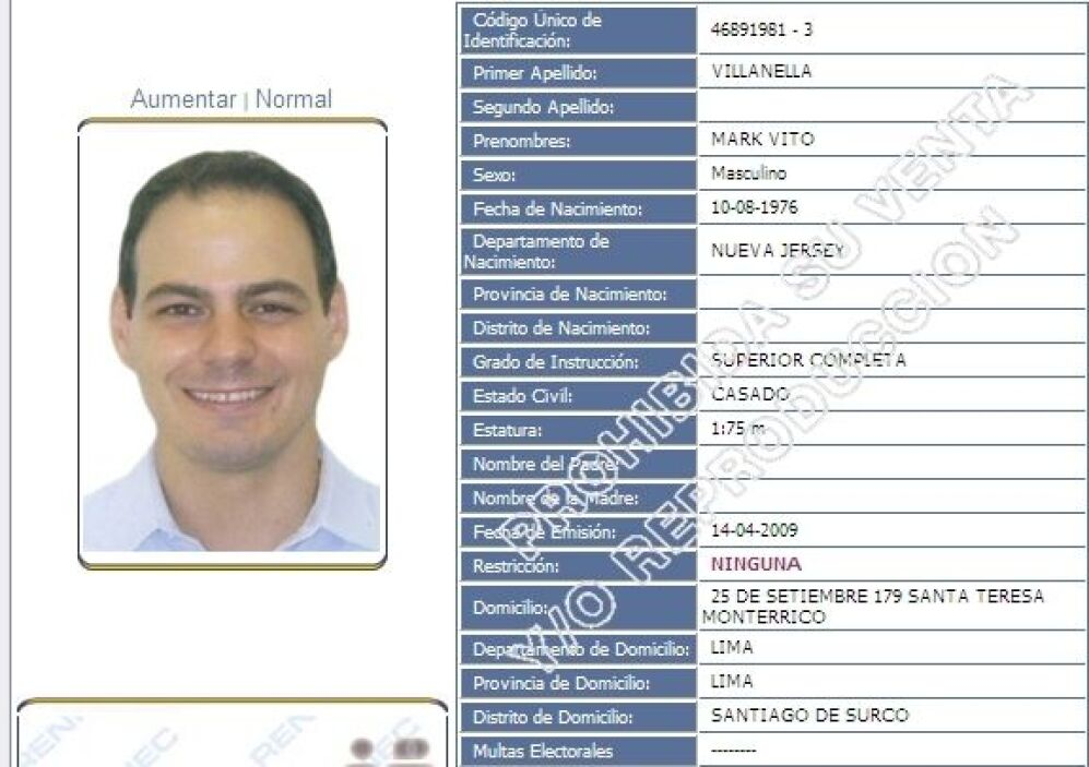 Copia del registro documento identifidad de Mark Vito Villanella, esposo...