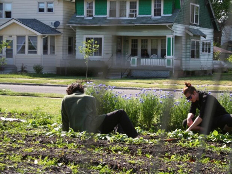 Alyssa Trimmer y Matt Steiner cultivan verduras en lotes en el barrio Vi...