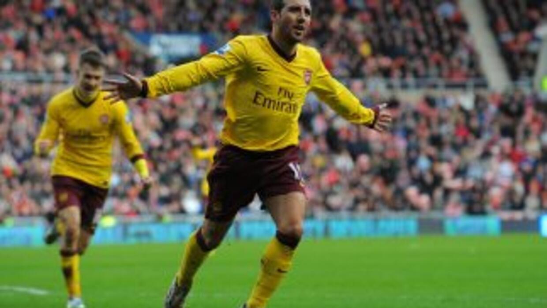 El español Santi Cazorla celebra el gol del triunfo del Arsenal.