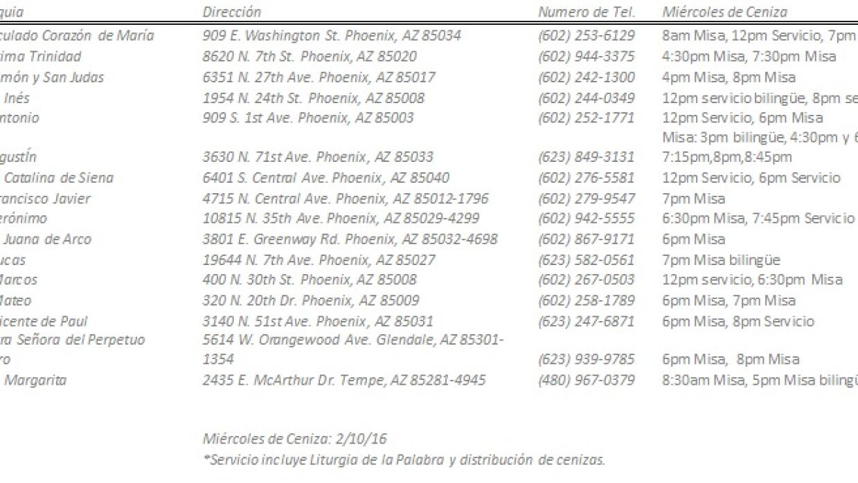Horario Misas de Cenizas en parroquias de Phoenix info%20de%20parroquita...