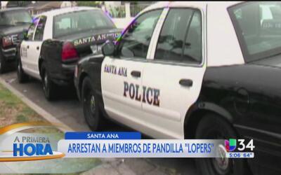 """Arrestan a presuntos miembros de la pandilla """"Lopers"""" en Santa Ana"""