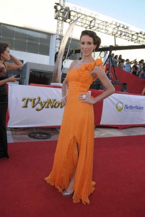 """En los """"Premios TVyNovelas"""" 2010, lució un elegante vestido en naranja c..."""