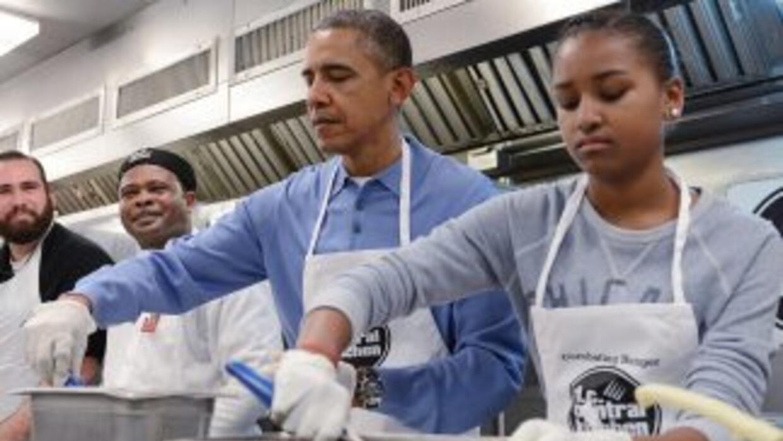 El presidente de EEUU acompañado de su hija Sasha.