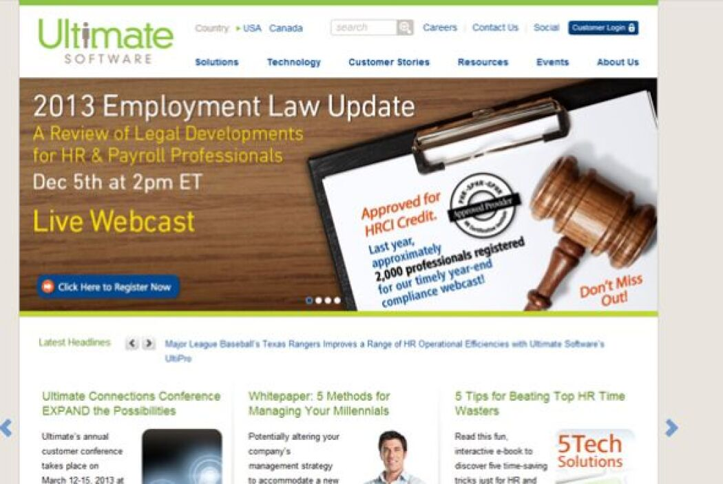 25. ULTIMATE SOFTWARE-  Número de empleados-1,209.  Industria- Tecnologí...