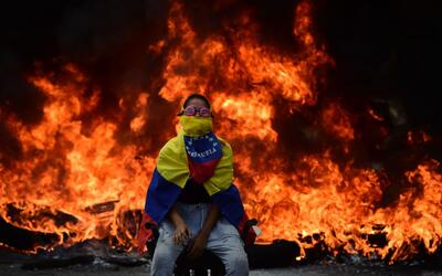 A barricade on the streets of Venezuela during anti-government protests...