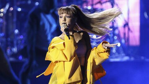 Ariana Grande en un momento de su actuación en iHeartRadio Music...