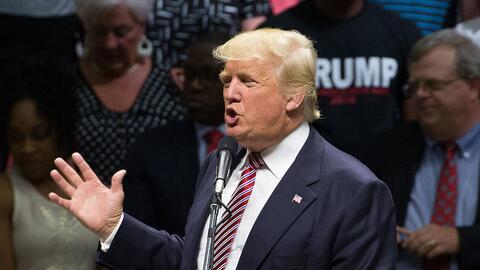 Donald Trump en un evento electoral en Austin, Texas, el 23 de agosto de...