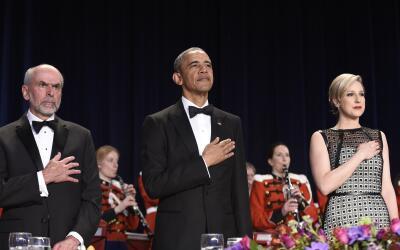 El presidente Barack Obama durante la Cena de Corresponsales de la Casa...