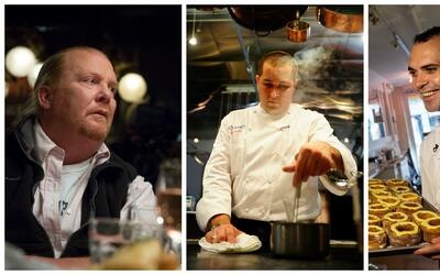 De izquierda a derecha: los chefs Mario Batali, James Kent y Dominique A...
