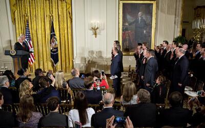 El Presidente Trump habló de una posible reelección en la ceremonia de j...