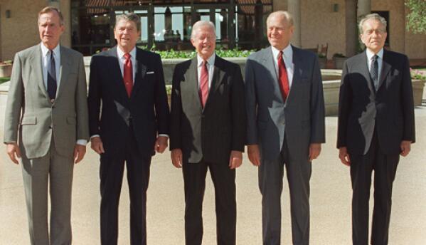 George H.W. Bush, Ronald Reagan, Jimmy Carter, Gerald Ford y Richard Nix...