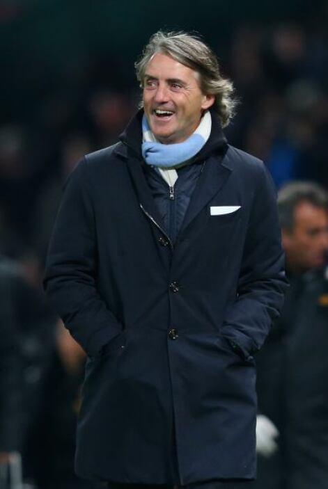 Roberto Mancini, técnico del City, mostraba su alegría.