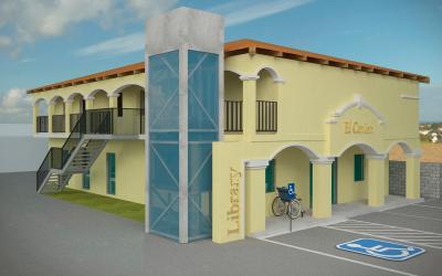 Maqueta de la biblioteca pública de El Cenizo, una ciudad de 3,300 habit...