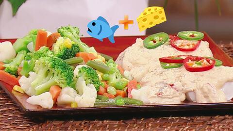 Exquisita combinación: Filete de pescado al limón, gratinado con mucho q...