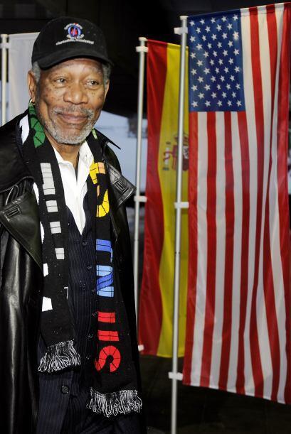 El actor Morgan Freeman también dijo presente en la última presentación...
