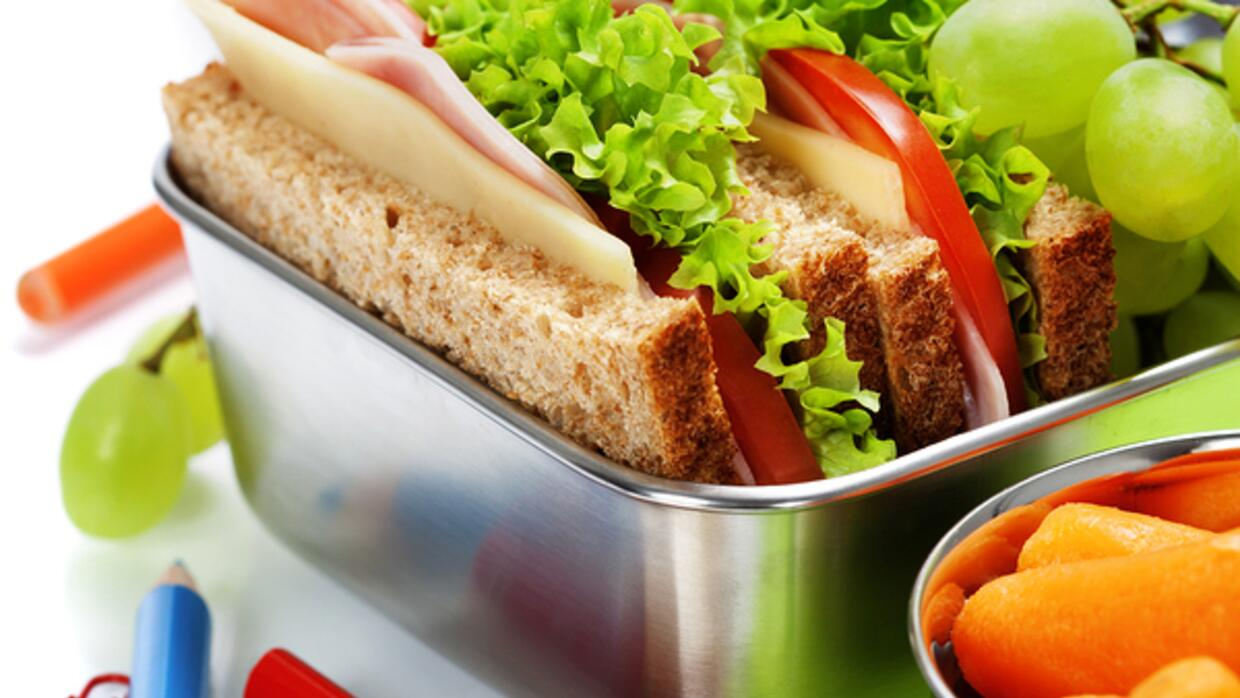 school lunch packed with reuseable container
