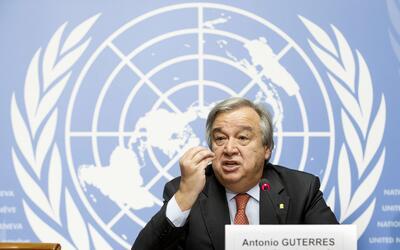Antonio Guterres habla en una conferencia de prensa en la sede de la ONU...