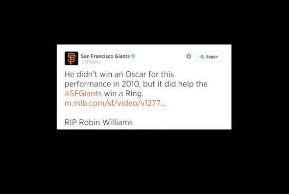 También los Gigantes de San Francisco recordaron al actor, que era segui...