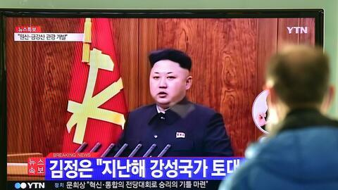 Kim Jong-un, líder de Corea del Norte, en una transmisión...