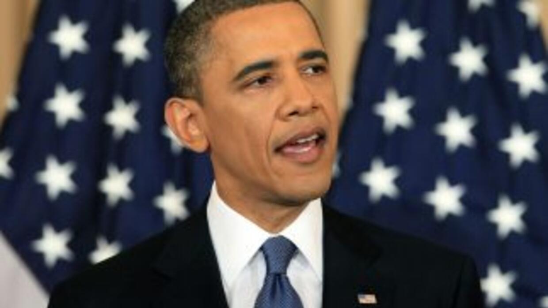 Obama habla al mundo árabe desde una sala en el Departamento de Estado,...
