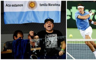 Diego Maradona haciendo fuerza por Argentina.