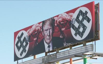 Vandalizan polémico anuncio de Donald Trump
