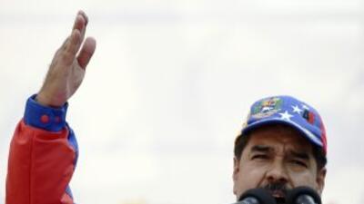 Nicolás Maduro durante la marcha del Día del Trabajador en Caracas, Vene...