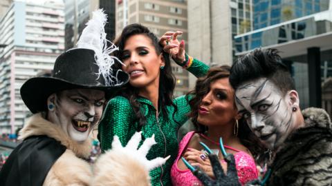 Transgender model and LGBT rights advocate Carmen Carrera in Brazil.