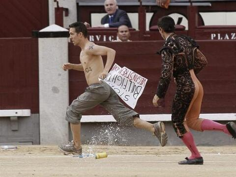 Un activista antitaurino salta al ruedo durante el vigésimo cuarto feste...